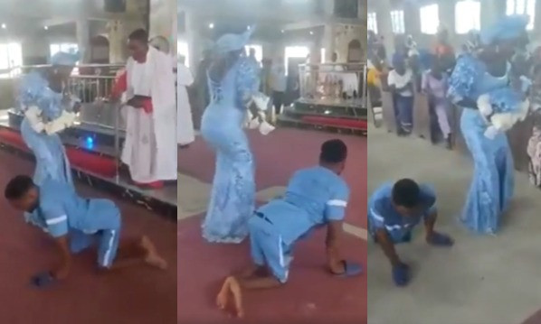 Loud cheers as physically challenged man dances on altar with wife to dedicate their newborn baby (video)