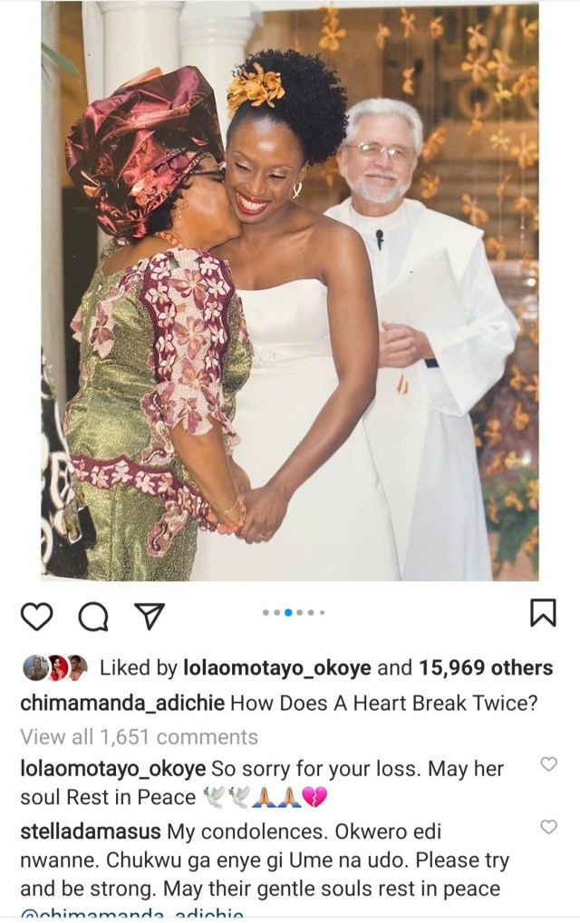 How Does A Heart Break Twice – Chimamanda Adichie Mourns As She Shares How Her Mum Died 8 Months After Her Dad1