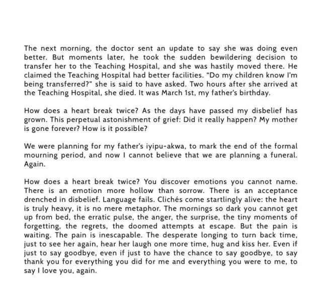 How Does A Heart Break Twice – Chimamanda Adichie Mourns As She Shares How Her Mum Died 8 Months After Her Dad4