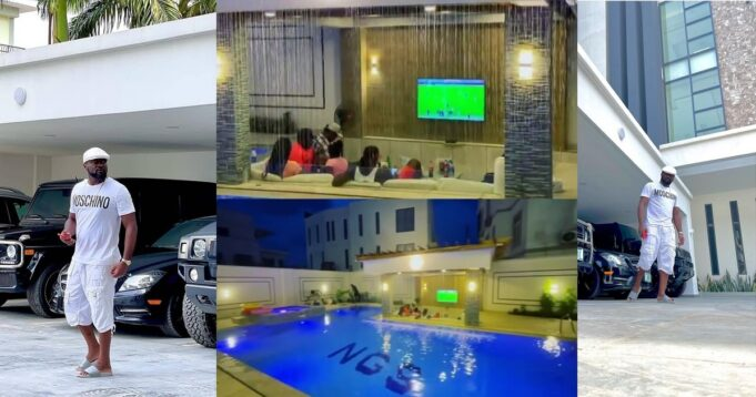 Jude Okoye shows off massive pool in his home
