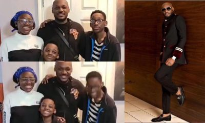 Singer, Tuface Idibia reunites with baby mama, Pero and children (Video)