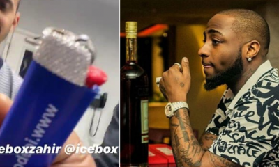 Davido Buys ₦1.8Million Diamond-Plated Lighter