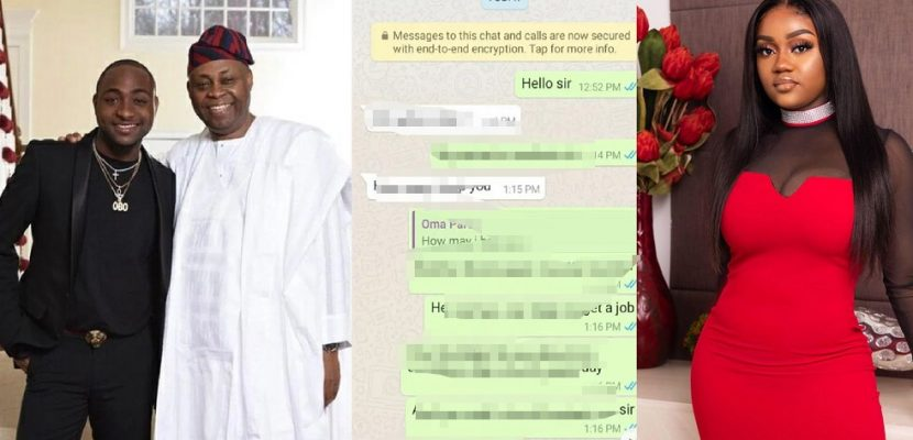 leaked Chat between Davido and his father about Chioma