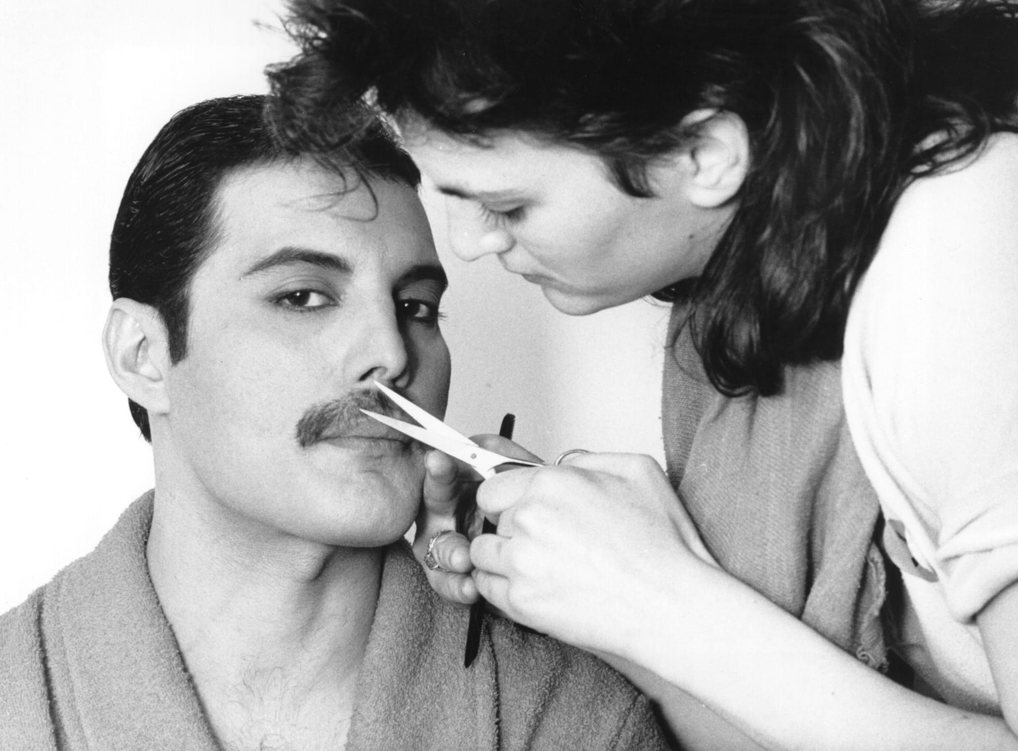 4 1982 rock singer freddie mercury frederick bulsara 1946 1991 of the popular british group queen has his moustache groomed photo by steve woodexpressgetty images