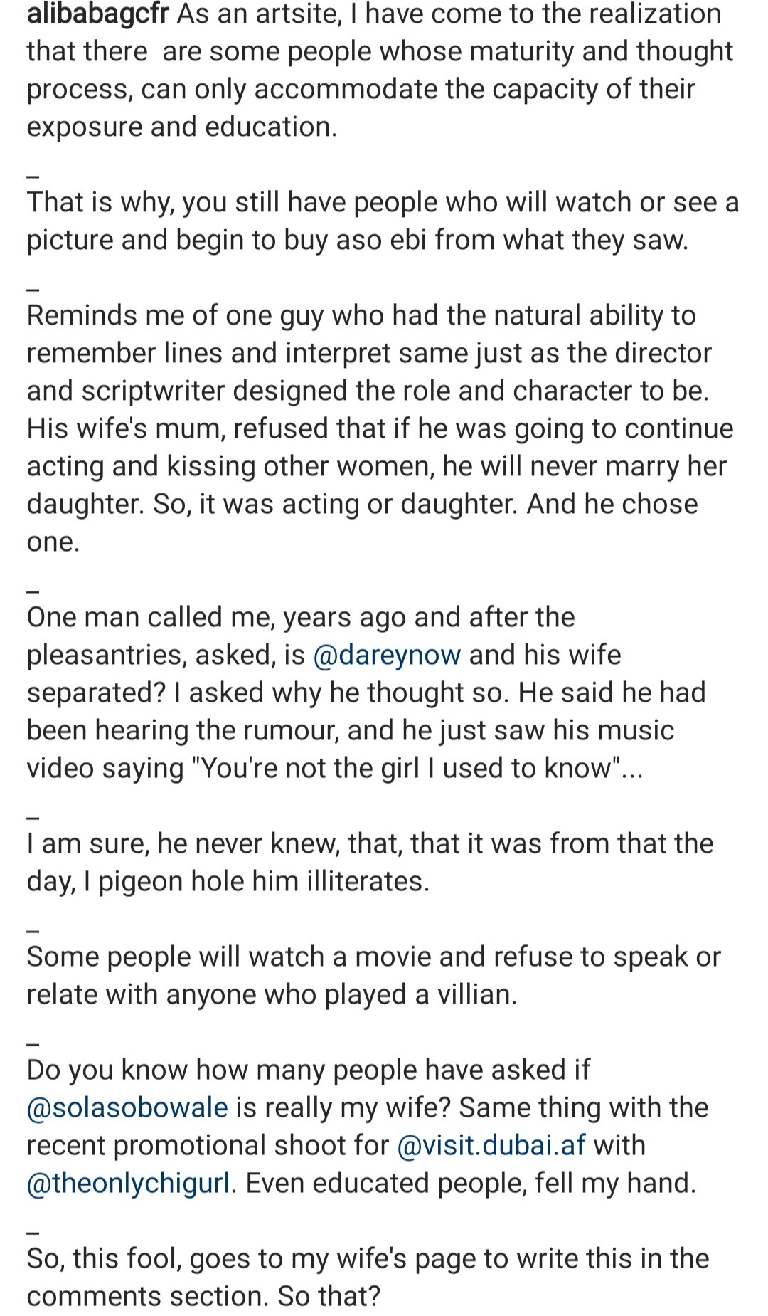 Ali Baba calls out woman who reported to his wife