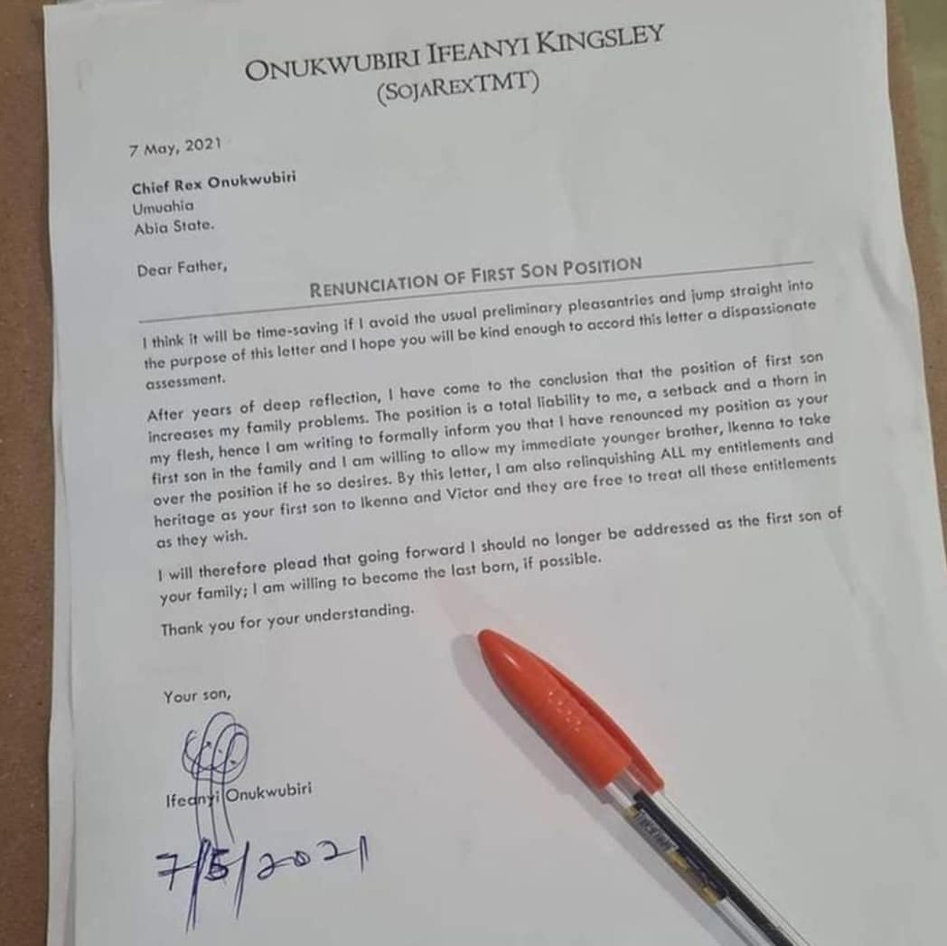 Man Pens Letter To Relatives